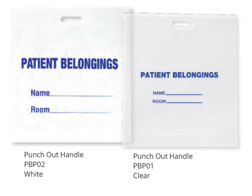 PDC Patient Belonging Bags Punch Out Handle